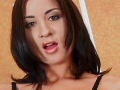 Horny brunette MILF fingers her ass then gets double interracial penetration