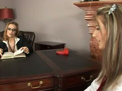 Busty School Principal Fisting and Toying a Student's Pussy in Her Office
