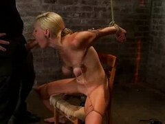 Bound in chair blonde throat fucked