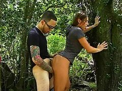 Young couple is fucking doggyfuck outdoors, moaning loud
