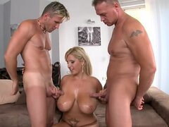 Chubby Chintia Flower gets pounded hard by two men