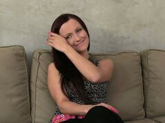 Hot redhead amateur creampied on couch