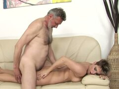 Old Man Fucking a Short Haired Babe s Shaved Pussy