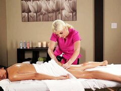 Kind and attentive service lady does great massage for big-tittied beauty