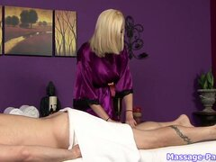 Blondie massages me before she sucks my cock and loves it more than ever