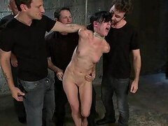 Petite Brunette Has A BDSM Gangbang With Horny Guys