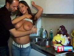 Busty French Arab Amateur moans as she...