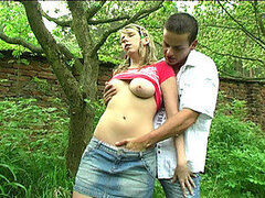 A curvy teen goes to the woods with her randy boyfriend for a shagging session