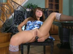 Masturbating brunette lesbian caught by the maid