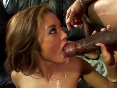 Sexy babe is getting fucked by gigantic black dick!