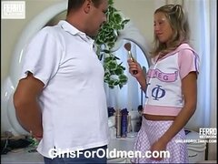 Gorgeous girlie learns the ropes of oral foreplay playing with older chap