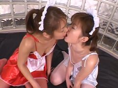 Japanese sluts in bukkake threesome