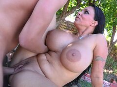 Dark-haired busty babe fuck with a nice big dick