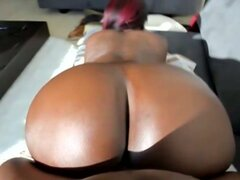 Huge ass ebony slut pumping hard with massive black boner in hot pov