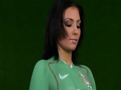 This hot latina-looking naked babe Aneta Keys loves Mexico, that's why she choose their team to support at World Cup 2010! Enjoy her football solo as she exposes her beautiful young body...