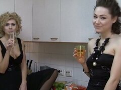 Drunken Lesbian Amateur Babes Licking Pussy at Party
