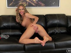 She plays and shows her ass and sticks her dildo back in to fuck