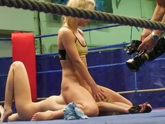 Behind the Scenes Action in Wrestling Lesbian Sex Video