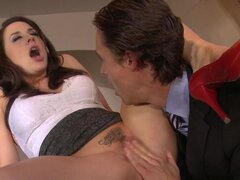 Tattooed babe is doing blowjob to her boss