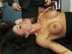 Sexy office whore Haley Wilde enjoying her lovers cock upside down