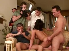 gangbang & dp with brunette whore