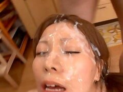 Hot Japanese housemaid gets Multiple Facials In The Kitchen
