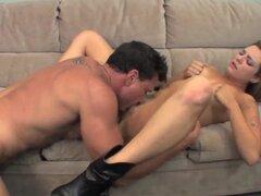 Attractive arousing blonde babe Bailey Blue with sexy body in booty shorts and slutty boots gives head to her handsome lover and rides on his stiff bazooka like there is no tomorrow