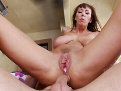 Shabby time worn cunt of mature hoe Alia Janine gets creampied
