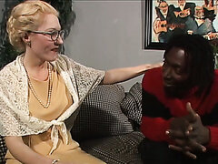 Mature old white lady meets black dudes in a shop and follows them to their appartment