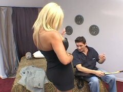 Rock song loving horny blonde milf rides huge young cock