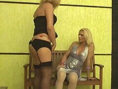 Hot Blonde In Lingerie Getting Fucked By A Ladyboy