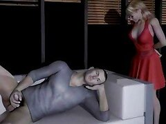 3D macho jerks his cock off and gets some help from a sexy blonde