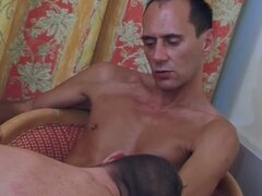 Hot young stud sucking and riding a older cock