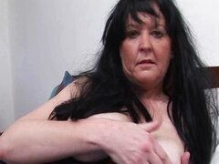 Brunette granny with big tits loves