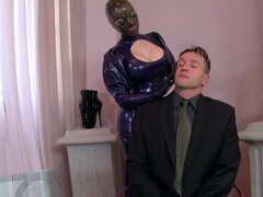 Perverted Latex Lucy is sucking tasty dick