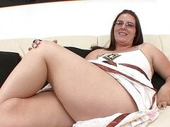 Chubby brunette with glasses tits sucks cock...