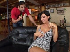 Slutty Eva Black gets double penetrated at the bar