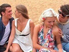 Outdoors Foursome With Gorgeous Blonde Girls