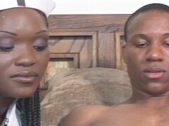 Ebony nurses get drilled by her patient !!