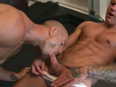 Horny hot bodied muscled gay hunk pisses at nasty stud pig mouth