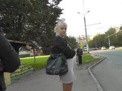 Blonde in pantyhose gets caught by hidden cam
