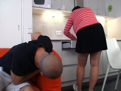 Horny guy bangs huge bitch in the kitchen