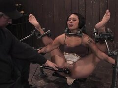 Hardore bitchy slut is bent and clamped as her throbbing clit is vibed