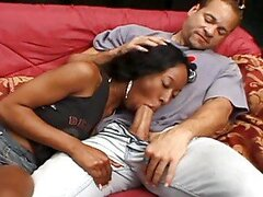 Stacey Cash the ebony babe gets fucked by two guys