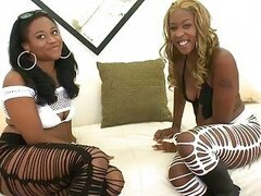 2 amazing ebony babes Candee Apple and Asa fucking