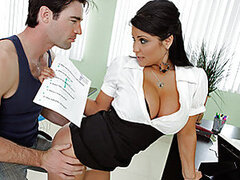 Dera is failing his classes and he has the balls to order a pizza during a lesson. Miss Lomeli is tired of him terrorizing the other students with his filthy mouth, so she put him to work. That mouth of his does a little digging in her pussy as she plans