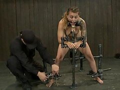 Lovely Blonde Slut and Redhead Fucked By Bondage Machines