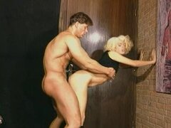 British slut in boots gets fucked against the wall