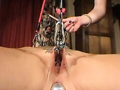Bound abd big analdildo