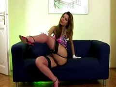Sexy lady in stockings does strip tease